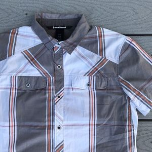 Black Diamond Shirts - Black Diamond Button Up S/S L Plaid Gray Orange
